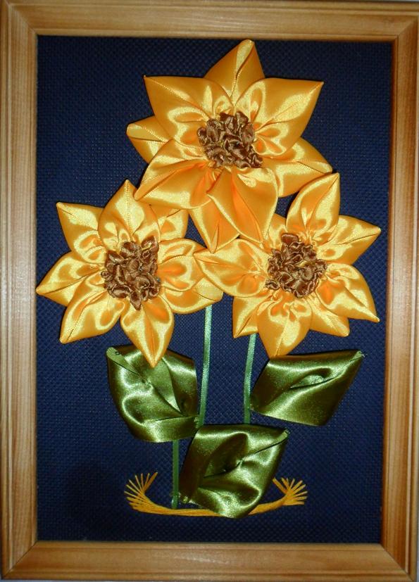 Картина цветы из атласных лент своими руками 15